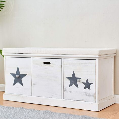 Distressed Vintage Style Washed White Painted Paulownia Wood