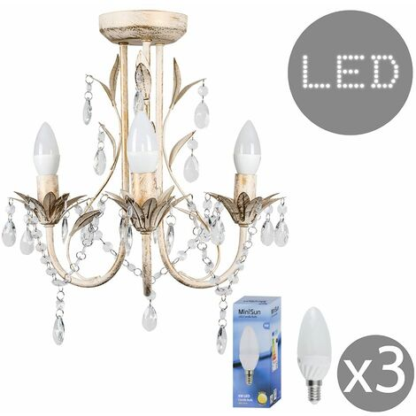 Distressed White 3 Way Ceiling Light Chandelier + 3 x 4w SES E14 LED Candle Bulbs
