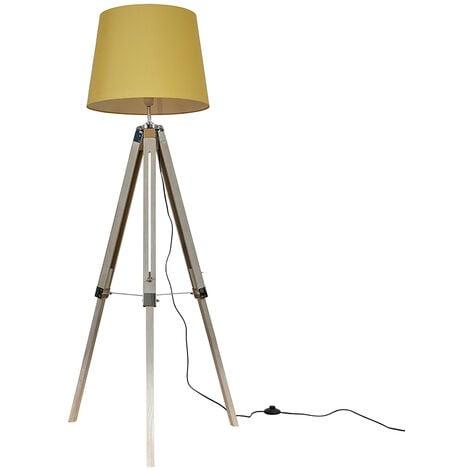 Distressed Wood & Chrome Tripod Floor Lamp + Mustard Light Shade + 6W LED Gls Bulb Warm White - Brown