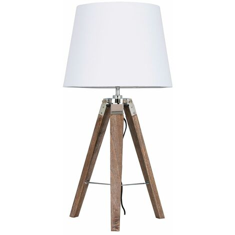 Distressed Wood & Chrome Tripod Table Lamp + White Light Shade + 6W LED Gls Bulb Warm White - Brown