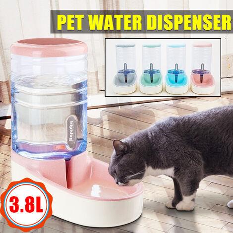 Distributeur automatique de nourriture 1 gallon Matériaux de grande capacité étanche Steady Dog Distributeur d'eau pour chat Distributeur de nourriture Alimentateurs Wateners Rose foncé (rose, distributeur d'eau)