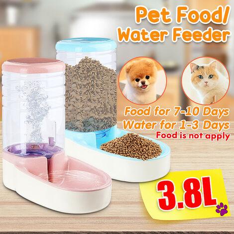Distributeur automatique de nourriture 1 gallon Matériaux de grande capacité Étanche Steady Dog Distributeur d'eau pour chat Mangeoires pour bol alimentaire Wateners Bleu (bleu, distributeur d'eau)