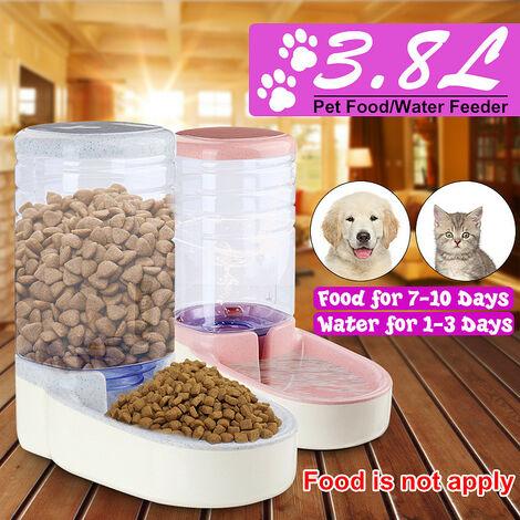 Distributeur automatique de nourriture 1 gallon Matériaux de grande capacité Étanche Steady Dog Distributeur d'eau pour chat Mangeoires pour bol alimentaire Wateners Gris foncé (gris, distributeur d'eau)