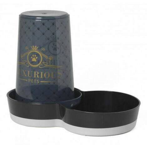Distributeur de croquettes ou d'eau pour chien ou chat sérigraphié Luxurious noir 1,5 L