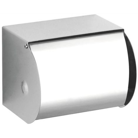 Distributeur de papier WC avec couvercle en Inox poli brillant - L 123 mm/H 96 mm/P 100 mm