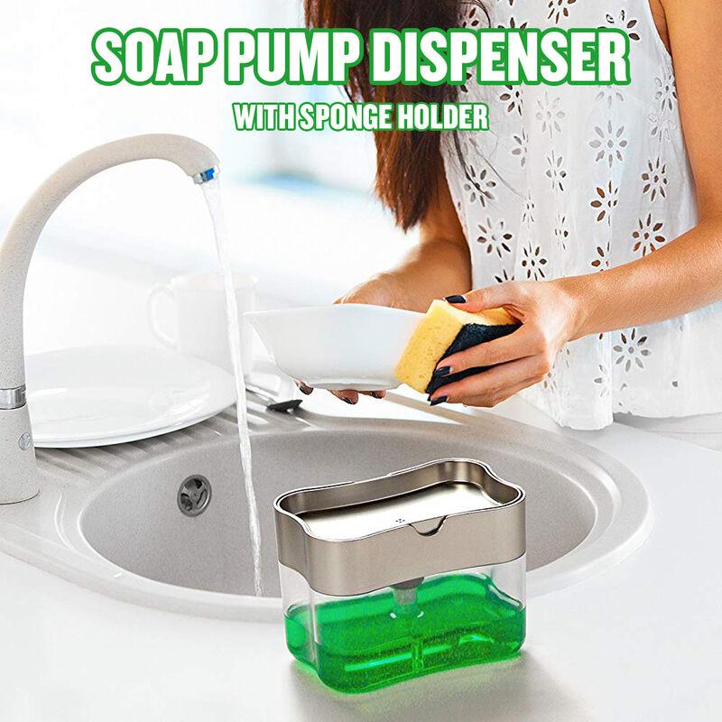 Distributeur de pompe a savon avec porte-eponge Distributeur de presse de 13 onces Rangement compact pour lotion et eponge de savon a