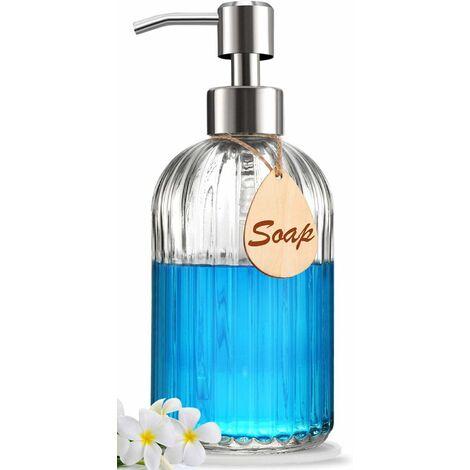 Distributeur de savon avec tampon en silicone antidérapant - Qualité supérieure - Distributeur de savon à vaisselle et à mains de grande taille - Pompe en acier inoxydable antirouille - Idéal pour le savon à vaisselle de cuisine, le savon de salle de bain