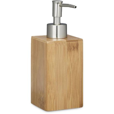 Distributeur de savon bambou pompe manuelle HxlxP: 18 x 6,5 x 8 cm 240 ml capacité lotion design, nature