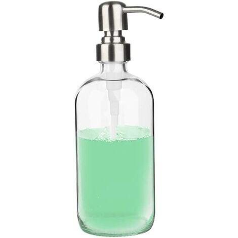 Distributeur de Savon - Distributeur de savon transparent pour évier de cuisine, distributeur de savon pour les mains, idéal pour les huiles essentielles savon liquide (transparent, 500 ml)