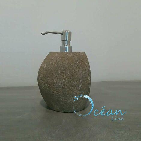 Distributeur de savon en pierre de rivière - Galéo