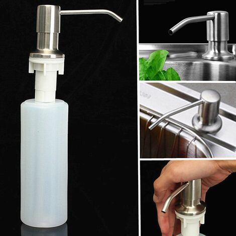 Distributeur de savon liquide de salle de bains d'évier de cuisine 350ML bouteille principale de nickel brossé