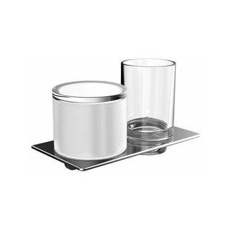 Distributeur de savon liquide et porte-verre Emco art, chromé - 163100102