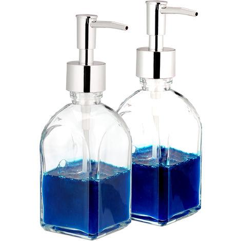 distributeur de savon, lot de 2, pompe, rechargeable, salle de bain, WC, cuisine, verre, 220 ml, transparent