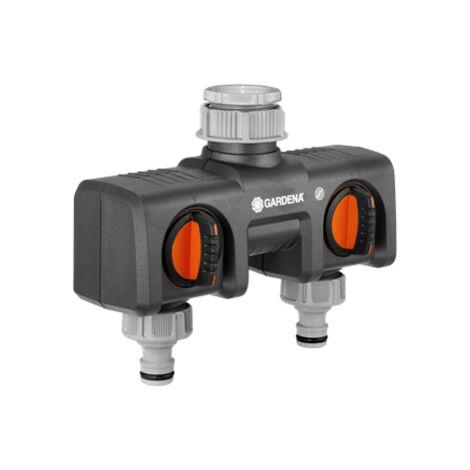 Distributeur deau 2 voies GARDENA 8193-20 avec vanne de régulation raccord enfichable, 30,3 mm (1) (filet int.), 24,2 mm (3/4) (filet int.)