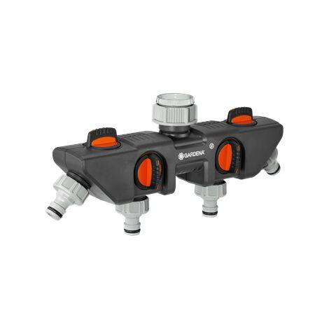 Distributeur deau 4 voies GARDENA 8194-20 avec vanne de régulation raccord enfichable, 26,44 mm (3/4) (filet ext.), 33,25 mm (1) (filet ext.)