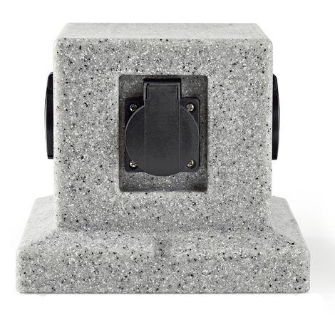 Distributeur extérieur 4 Plug Cube Dés Stone Optique Jardin Terrasses Alimentation Gris Harms 103223