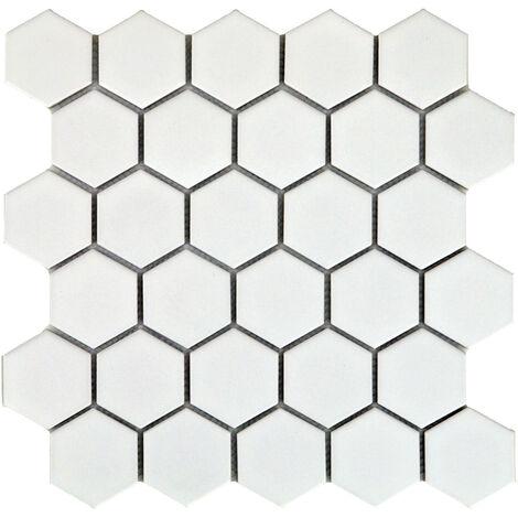 DISTRIMAT Carrelage mosaïque HEXAGONE Blanc 27x28 cm