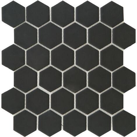 DISTRIMAT Carrelage mosaïque HEXAGONE Noir 27x28 cm