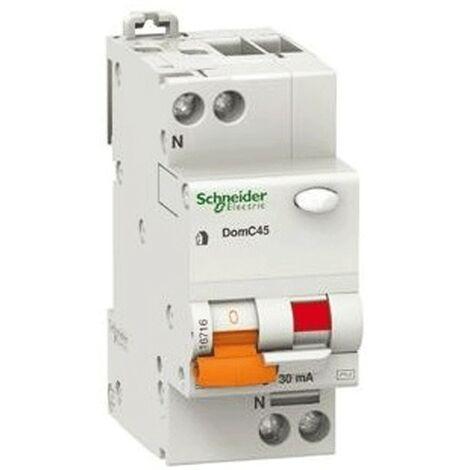 Disyuntor diferencial Schneider 1P+N 10A 30MA 4.5 KA DOMC45C1030C
