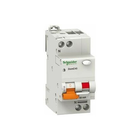 Disyuntor diferencial Schneider 1P+N 16A 30MA 4.5 KA DOMC45C1630C