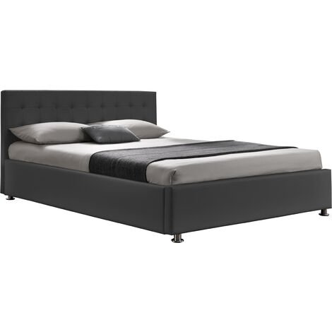 Diva ii lit coffre 140x190 cm pu gris soit en ouverture frontale (classique) ou en ouverture laterale�avec tete de lit - Gris