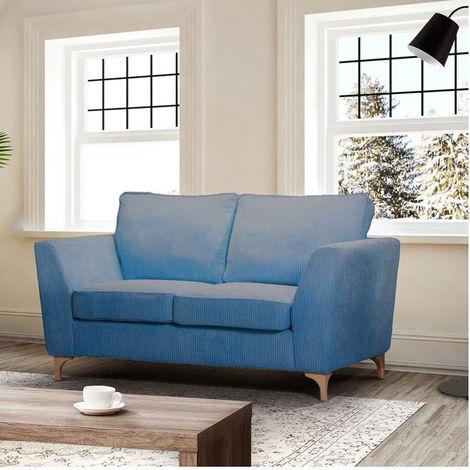 Divano Due Posti Moderno.Divano 2 Due Posti In Tessuto Blu Imbottito Moderno Cuscini Sala