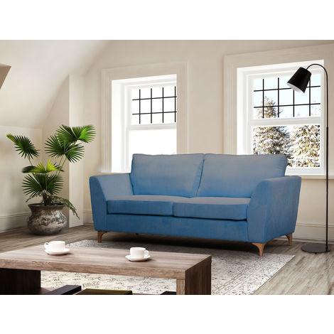 Cuscini Moderni Divano.Divano 3 Tre Posti In Tessuto Blu Imbottito Moderno Cuscini Sala Attesa Salotto