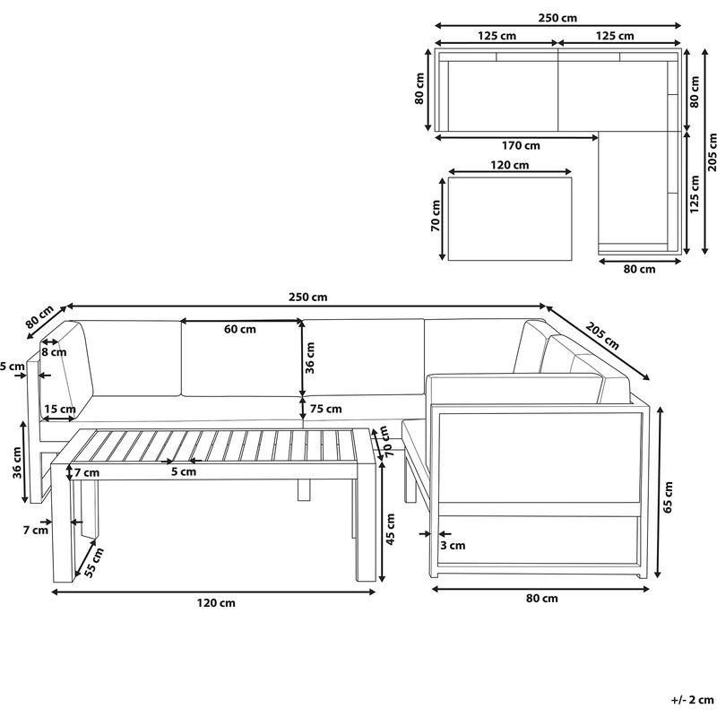 Divano Angolare 230 X 230.Divano Angolare Da Giardino Con Tavolino In Alluminio Bianco Vinci