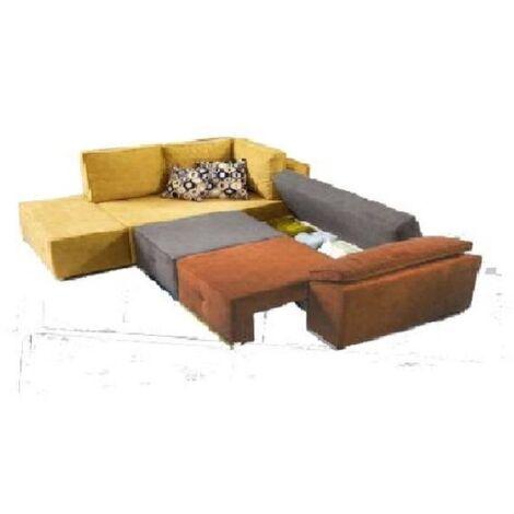Divano angolare FUNKY in tessuto trasformabile in letto con contenitore
