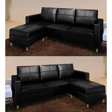 Divano Angolare Soggiorno.Divano Angolare Sofa In Ecopelle Arredo Soggiorno Pouf Reversibile