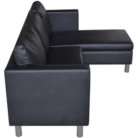 Divano angolare sofà in ecopelle arredo soggiorno pouf reversibile ...