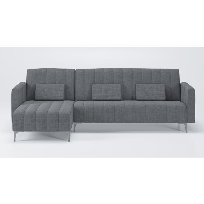 Divano chaise longue Chester 267cm grigio. convertibile in letto reversibile