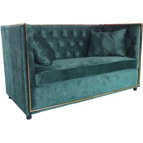 Divano Velluto Verde.Divano Divanetto Imbottito Velluto Verde 2 Posti Da Interno Glamour Loxury