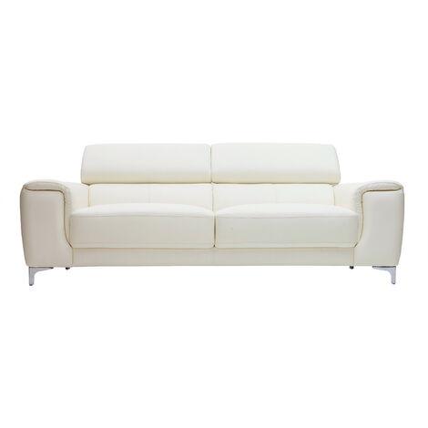 Divano In Pelle Con Relax.Divano In Pelle Design 3 Posti Con Poggiatesta Relax Bianco Nevada