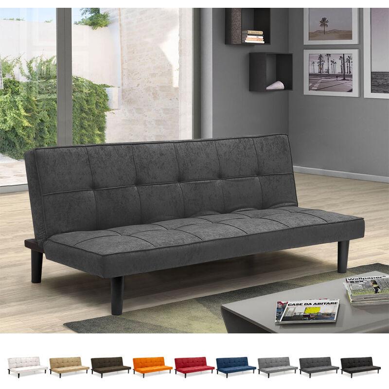 Divano Letto Design in tessuto 2 Posti per casa e ufficio Giada   Colore: Grigio - MODUS SOFÀ