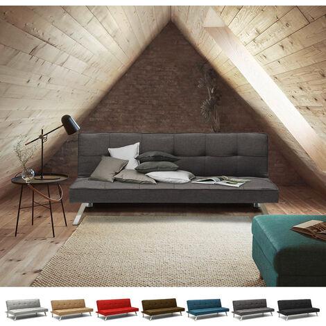 Divano letto in tessuto 2 posti design moderno GEMMA pronto letto | Colore: Grigio Scuro