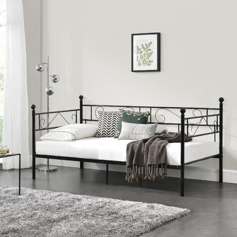 Divano Letto Matrimoniale Rete Doghe.Divano Letto Metallo 200 X 90 Cm Sofa Singolo Design Incluso Rete