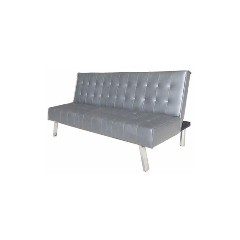 Pidema - Divano letto reclinabile grigio piombo 3 posti. Divani reclinabili moderni rivestiti in poliuretano, ideale in soggiorno e in ufficio.