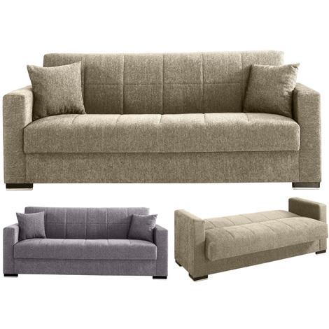 Letti In Tessuto Con Contenitore.Divano Pronto Letto Con Contenitore 3 Posti In Tessuto Reclinabile Salotto Sofa