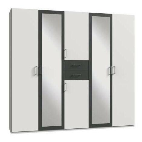 DIVER Armoire de chambre grande capacité - Décor blanc et graphite - L 225cm