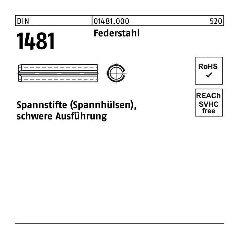 Spannstift DIN 1481 5 x 75 Federstahl schwere Ausführung DIN 1481 - Diverse