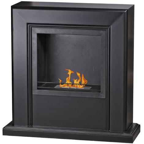 Divina-fire Cheminée au bioéthanol en bois MDF couleur noir STOCCOLMA