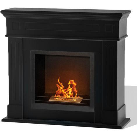 Divina-fire Cheminée au bioéthanol en bois noire brûleur en acier inox 1.5 L CAMBRIDGE N