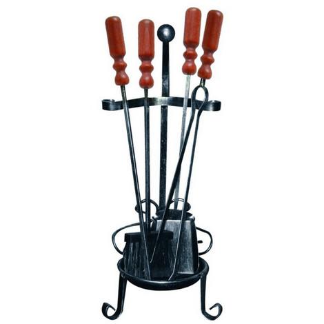 Divina-fire Serviteur de cheminée 4 accessoires avec socle en fer forgé DF53567