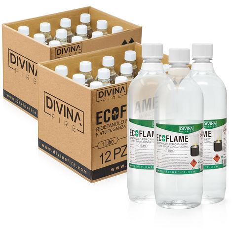 Divina-fire x24 Bioetanolo da 1lt combustibile ecologico naturale inodore ECOFLAME