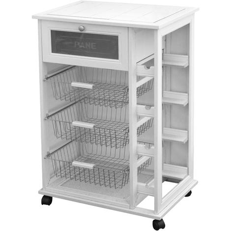 Divina-home Küchenwagen aus Holz + Flaschenregal Weiß DH43031