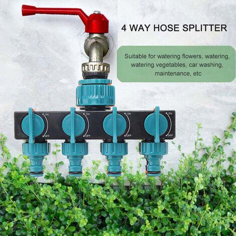 Divisor de manguera de 4 vias, divisor de conector de convertidor de grifo de agua, adaptador de manguera