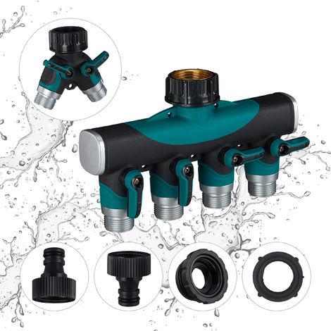 Divisor de manguera, Toma de agua regulable, Con llaves de cierre, Cuatro vías, Negro-verde