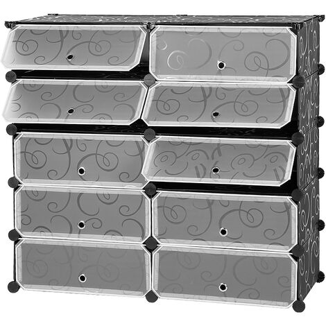 DIY 10 Cubes Modular Shoe Rack Wardrobe, Plastic Storage Cabinet for Bedroom, Living Room, Black and White with Curly Pattern