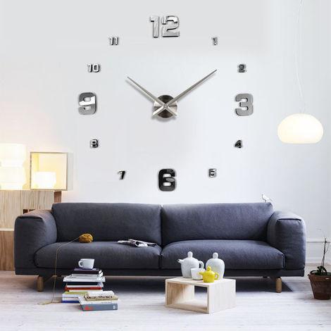 DIY 3D Wall Clock Digital Watch Mirror Sticker Agent Art Home Decor Hasaki